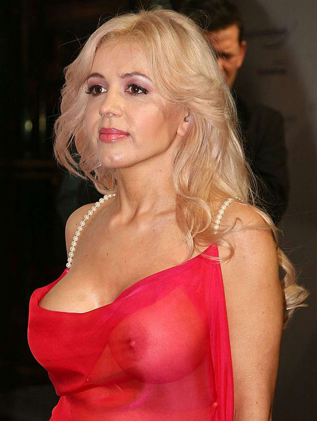 Davorka Tovilo revealing her big boobs in her transparent dress in a function