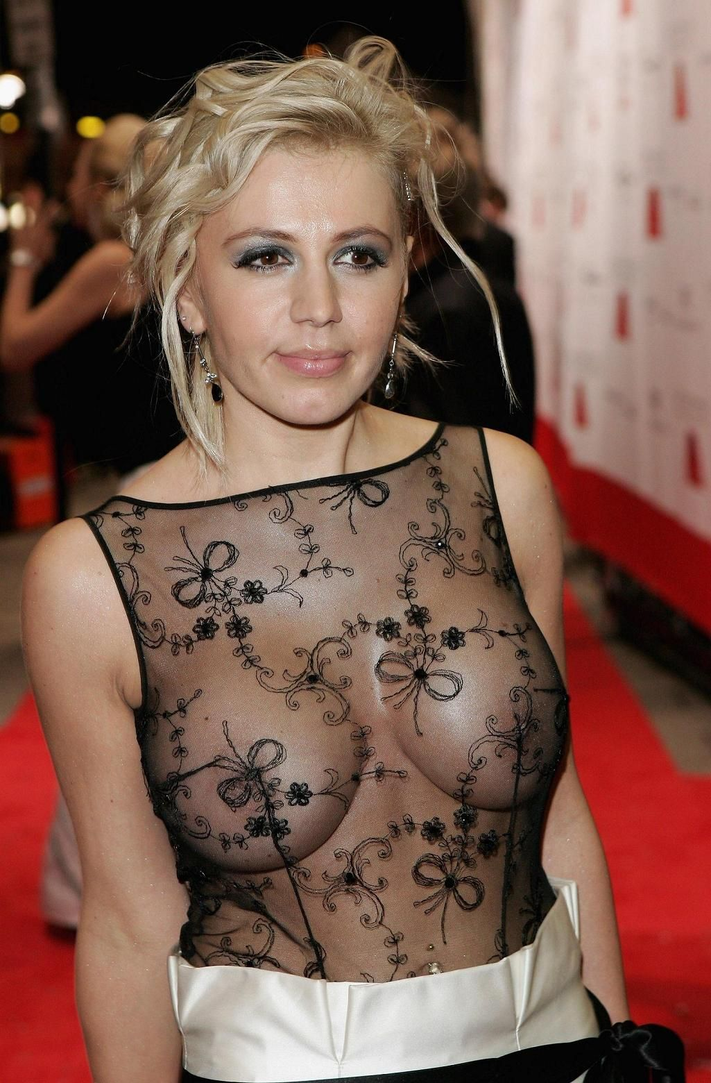 Davorka Tovilo showing her big boobs in her transparent dress in a function
